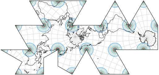 Dymaxion-like Conformal Projection, Areal Distortion