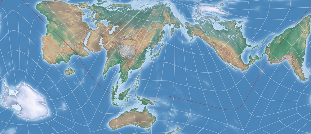 An equal area projection in the fashion of the authagraph map the projection center was set to 76 south 5120 west with an axial tilt of 32 which as desired allows you to put south america to the right edge of gumiabroncs Image collections